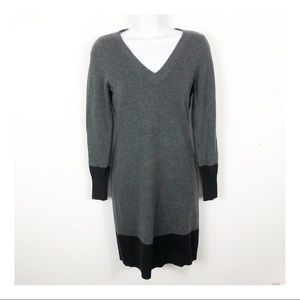 Ann Taylor Petite Grey and Black Sweater Dress